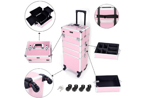 Mefeir 4-in-1 Rolling Makeup Train Cases Lift Handle,4 Removable Wheels Lockable Keys,Aluminum Cosmetic Trolley Beauty Stylist Artist Organizer Box,Ideal Xmas New Year Gift(Pink)
