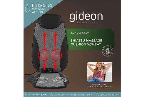 Gideon Luxury Full Back Shiatsu Massaging Cushions with Heat + Vibration/Powerful 3D Deep Kneading + Multiple Vibrating Points at Thighs