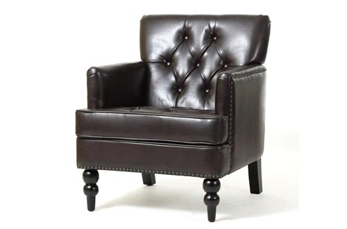 Christopher Knight Home Tufted Club Chairs, Decorative Accent Chairs with Studded Details - Brown