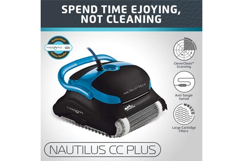Dolphin Nautilus CC Plus Automatic Robotic Pool Cleaners with Easy to Clean Large Top Load Filter Cartridges and Tangle-Free Swivel Cord, Ideal for In-ground Swimming Pools up to 50 Feet.