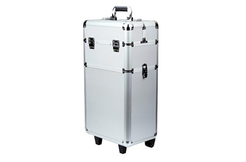 Rolling Makeup Cases 3 in 1 Aluminum Professional Trolley Train Case Organizer Cosmetic Box Wheeled Artist Travel(Silver)
