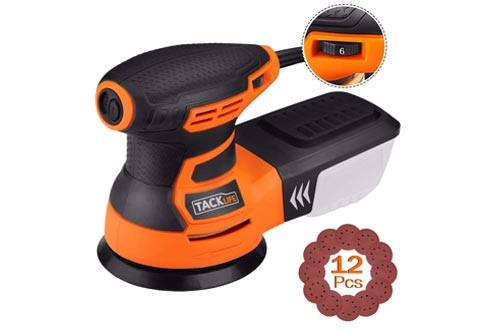 TACKLIFE Orbital Sanders, 3.0A 5-Inch Random Orbit Sander with 12Pcs Sandpapers