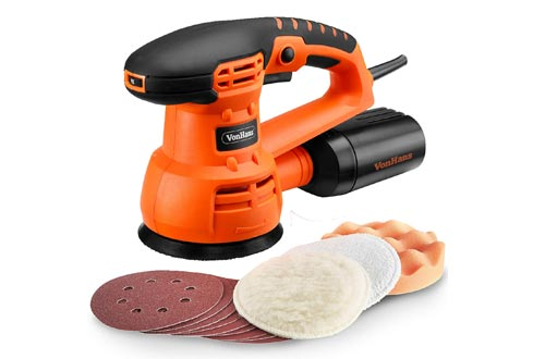"VonHaus 5"" Inch Random Orbit Sanders and Polisher with 6 Variable Speed, 13000 RPM, Dust Collector System - Includes 9 Sanding Paper Pads, 3 Polishing Pads"