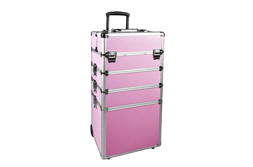 Makeup Train Cases 4 in 1 Professional Cosmetics Rolling Organizer Aluminum Frame and Folding Trays (10.4×13.4×28.7 In,Pink)