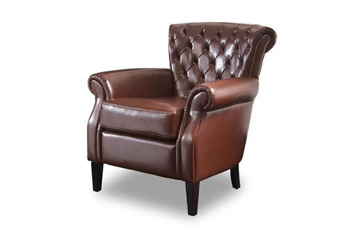 Christopher Knight Home Franklin Tufted Bonded Leather Club Chairs, Brown