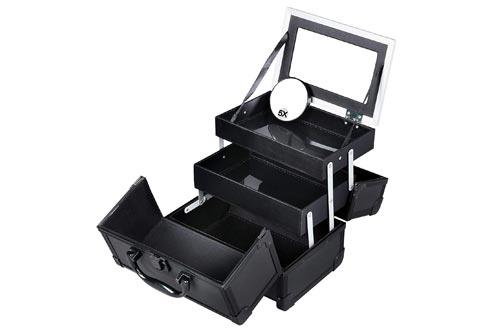 SONGMICS Portable Makeup Train Cases Mini Alumi Cosmetic Organizer Box with Mirror 2 Trays Black UMUC11B