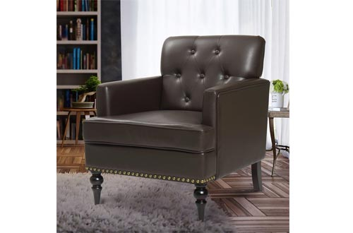 Finnkarelia Accent Chairs for Living Room Mid Century Arm Club Chairs with Armrest and Solid Wood Leg, Leather Brown Single