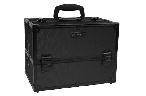 SHANY Essential Pro Makeup Train Cases with Shoulder Strap and Locks, Black