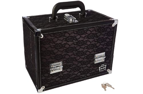Caboodles Stylist Train Cases, Black Lace Over Silver