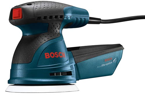 Bosch ROS20VSC Palm Sanders - 2.5 Amp 5 in. Corded Variable Speed Random Orbital Sander/Polisher Kit with Dust Collector and Soft Carrying Bag