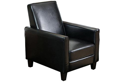 Best Selling Davis Leather Recliner Club Chairs, Black