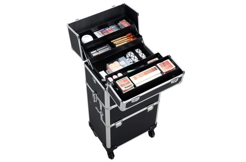 Yaheetech 3 in 1 Rolling Make Up Cases Trolley, Aluminum Makeup Train Case Cosmetic Cart Organizer Large 360-degree on Wheels Black