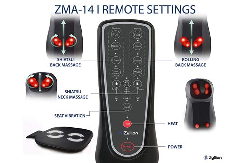 Zyllion Shiatsu Back and Neck Massager Cushions Pad with Soothing Heat Function - High Intensity Massage with 3 Modes - Fits Perfectly on Chair