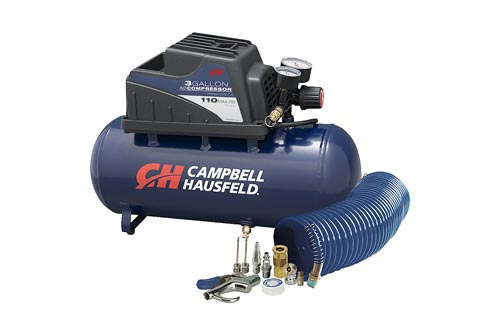 Air Compressors, Portable, 3 Gallon Horizontal, Oilless, w/ 10 Piece Accessory Kit Including Air Hose & Inflation Gun (Campbell Hausfeld FP209499AV)
