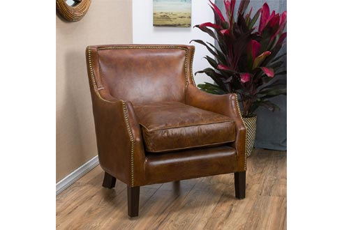 Christopher Knight Home 296713 Tiller Arm Chairs Top Grain Leather Vintage, Light Brown