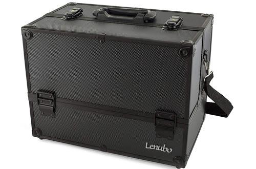 """Makeup Train Cases - Professional 14"""" Large Make Up Artist Organizer Kit - Shoulder Bag With Adjustable Dividers, 4 Trays & Key Lock"""