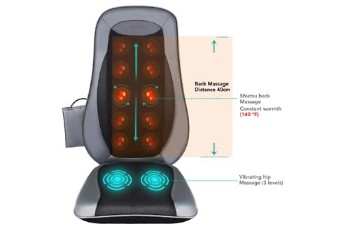 Naipo Back Massage Seat Cushions with Heat for Chair, Deep Kneading Rolling and Vibrating - Full Back Massager for Home Office Car Use