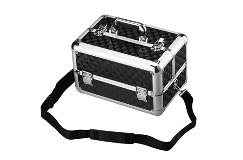 13.8'' Aluminum Professional Makeup Train Cases Makeup Organizer with Adjustable Dividers -Cosmetic Box
