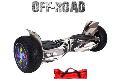 "Chic UL 2272 Certified 8.5"" All Terrain Offroad Hoverboard Smart Balance Scooter LED with Bluetooth Free Bag Black Camo Color HB-Z13-BLACKCAMO1"