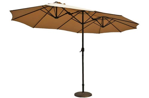 Le Papillon 15 ft Market Outdoor Umbrella Double-Sided Aluminum Table Patio Umbrellas with Crank, Beige