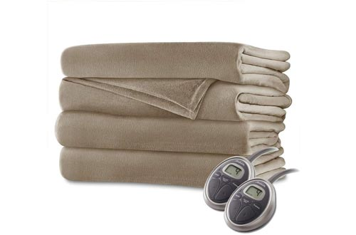 Sunbeam - Queen Size Heated Blankets Luxurious Velvet Plush with 2 Digital Controllers and Auto-Off Feature - 5yr Warranty