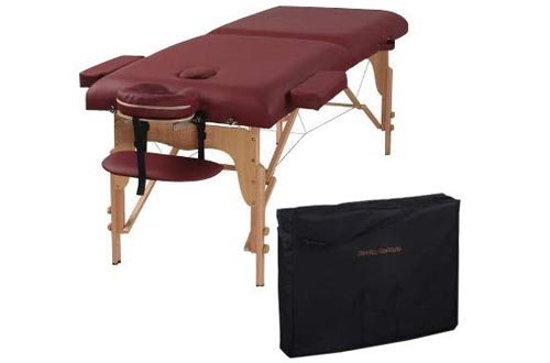 Heaven Massage Two Fold Burgundy Portable Massage Tables - PU Leather High Quality