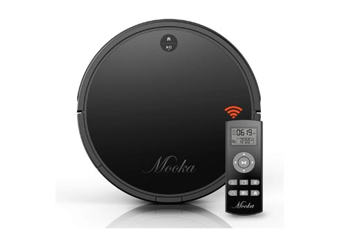 Robot Vacuums Cleaner, Mooka Auto Robotic Vacuum Cleaner with Powerful Suction, Self-Charging, Ultra Quiet, 2600mAH Battery for 2 hours, Suits Wooden/Tiled Floors & Light Carpets (Upgraded)