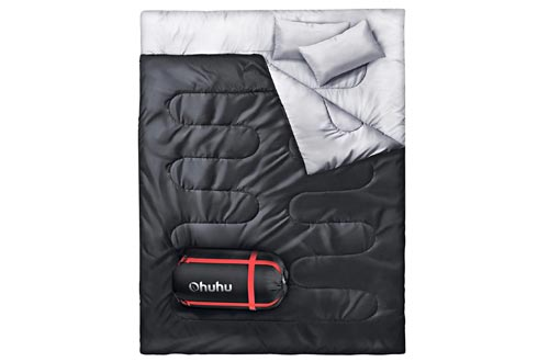 Ohuhu Double Sleeping Bag, 2 Person Sleeping Bags with 2 Pillows for Adults, Teens, Cold Cool Weather Camping, Backpacking, Hiking Accessories in Tent, Can and Truck, XL Queen Size