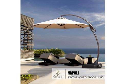 Grand patio Deluxe Napoli 12FT Curvy Aluminum Offset Umbrella, Patio Cantilever Umbrellas with Base, Champagne