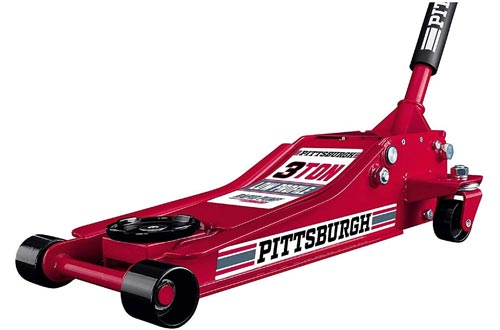 Pittsburgh Automotive 3 Ton Heavy Duty Ultra Low Profile Steel Floor Jacks with Rapid Pump Quick Lift