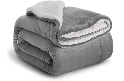 Bedsure Sherpa Fleece Blanket Twin Size Grey Plush Blanket Fuzzy Soft Blankets Microfiber