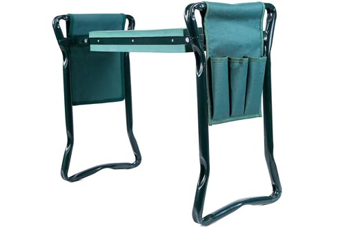 Ohuhu Garden Kneelers and Seat with 2 Bonus Tool Pouches, Foldable Garden Bench Stools, Portable Kneeler for Gardening Gardeners