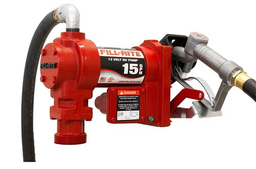 Fill-Rite FR1210G 12V 15 GPM (57 LPM) Fuel Transfer Pumps with Discharge Hose, Manual Nozzle, Suction Pipe, RED