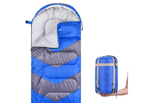 Abco Tech Sleeping Bags – Envelope Lightweight Portable, Waterproof, Comfort with Compression Sack - Great for 4 Season Traveling, Camping, Hiking, Outdoor Activities & Boys. (Single)