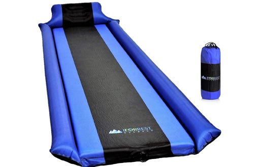 IFORREST Sleeping Pads with Armrest & Pillow - Protection of Rollover, Ultra-Comfortable Self-Inflating Camping Foam Mattress for Hiking and Backpacking - Ideal Air Bed for Cot, Tent & Hammock