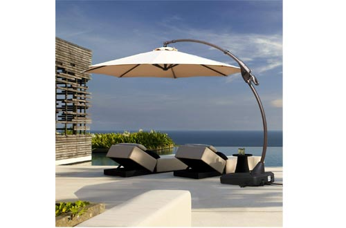 Grand patio Deluxe Napoli 11 FT Curvy Aluminum Offset Umbrella, Patio Cantilever Umbrellas with Base, Champagne