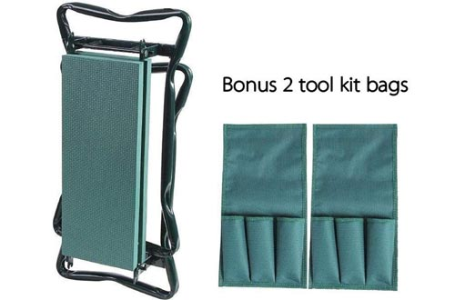Ohuhu Garden Kneeler and Seat with 2 Bonus Tool Pouches, Foldable Garden Bench Stools, Portable Kneelers for Gardening Gardeners