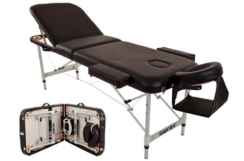 Merax Aluminium 3 Section Portable Folding Massage Tables Facial SPA Tattoo Bed