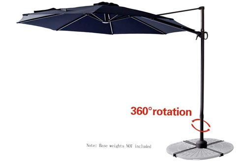 C-Hopetree 10' Offset Cantilever Hanging Market Style Patio Umbrellas with Tilt