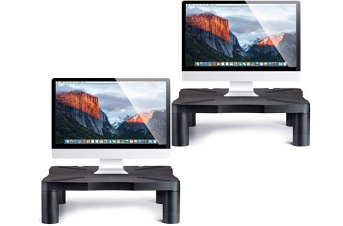 "Monitor Stands Computer Riser - Desk Storage Organizer, Height Adjustable Shelf for Printer, Laptop, Screens Up to 24"" Inches - Black 