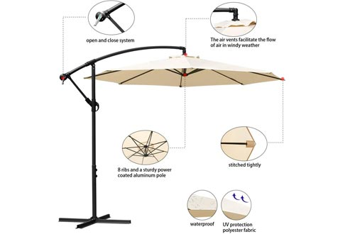 Masvis 10 ft offset cantilever patio umbrellas outdoor market hanging umbrellas & crank with cross base, 8 ribs (Beige)