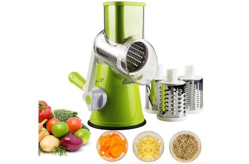 Vegetable Mandoline Slicer, Zacfton Vegetable Fruit Cutter Cheese Shredders Rotary Drum Grater with 3 Stainless Steel Rotary Blades and Suction Cup Feet (Green)