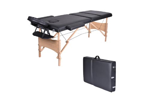"Massage Table-WELLHOME Wood Treatment Tables 3 Section Professional Portable Home Folding Facial SPA Tattoo Bed Black, Load up to 660 lbs,82"" × 23"",with Adjustable Face Cradle Carrying Case"