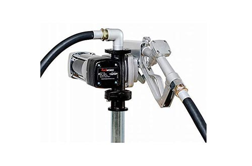 Fuelworks 10305708A 12V 15GPM Fuel Transfer Pumps Kit with 14' Hose, Extensible Suction Tube and Manual Nozzle, Black