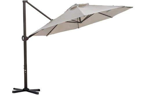 Abba Patio Offset Cantilever Umbrellas 11-Feet Outdoor Patio Hanging Umbrella with Cross Base, Beige