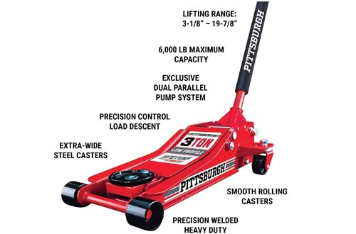 Pittsburg 3 Ton Low Profile Floor Jack and Jacks Stands Set Combo with Rapid Pump Quick Lift