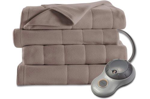 Sunbeam Heated Blankets | 10 Heat Settings, Quilted Fleece, Mushroom, Queen - BSF9GQS-R772-13A00