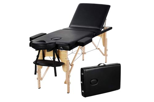 Yaheetech 84inch Portable Folding Massage Tables Facial Salon SPA Bed With Carry Case, 3 Fold, Extra Wide, Black.