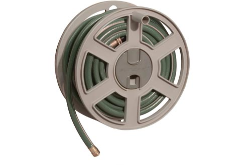 Suncast CPLSWA100 Fully Assembled Outdoor Wall Mount Tracker with Removable Reels 100' Hose Capacity, Taupe