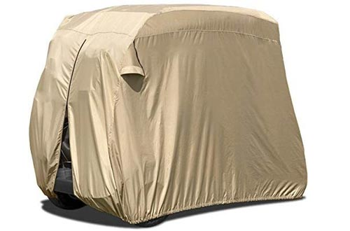 North East Harbor Waterproof Superior Beige Golf Cart Cover Covers for Club Car, EZGO, Yamaha, Fits Most Two-Person Golf Carts
